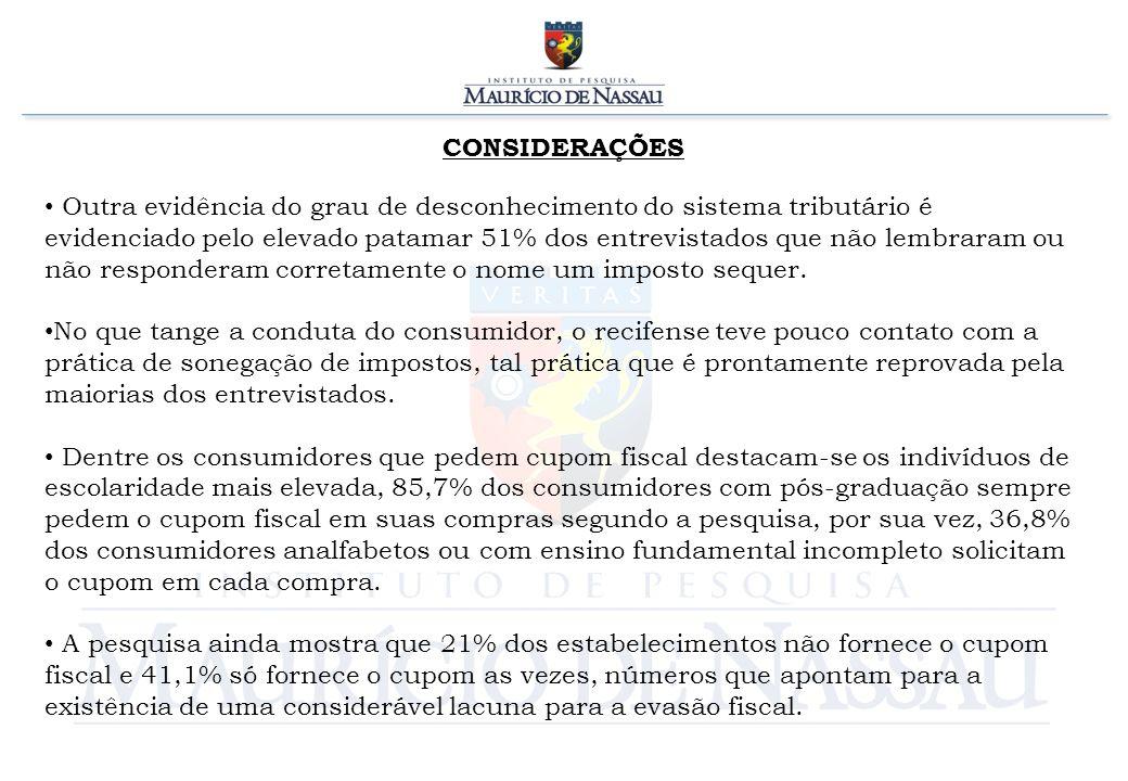 CONSIDERAÇÕES Outra evidência do grau de desconhecimento do sistema tributário é evidenciado pelo elevado patamar 51% dos entrevistados que não lembra