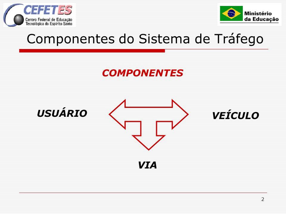 3 Componentes do sistema de tráfego: Usuário Minimizar o PIEV Maximizar a reação
