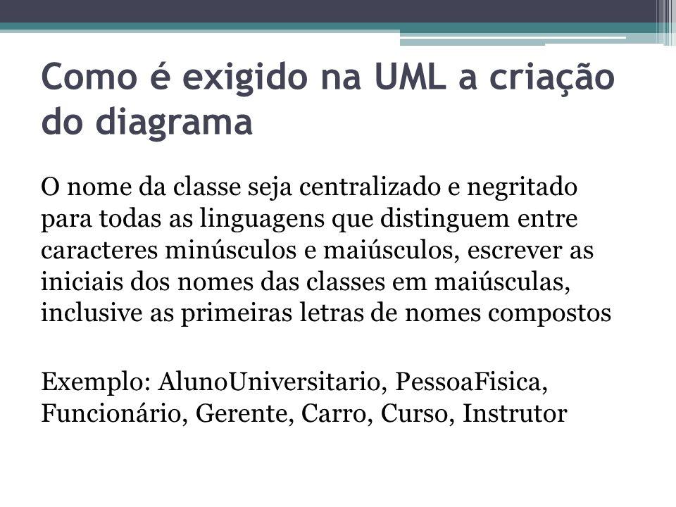 Como é exigido na UML a criação do diagrama O nome da classe seja centralizado e negritado para todas as linguagens que distinguem entre caracteres mi