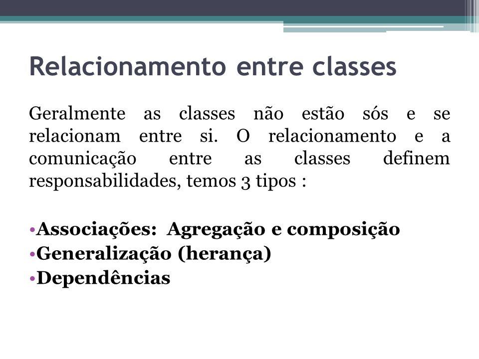 Relacionamento entre classes Geralmente as classes não estão sós e se relacionam entre si. O relacionamento e a comunicação entre as classes definem r