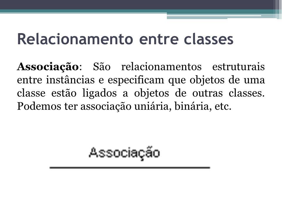 Relacionamento entre classes Associação: São relacionamentos estruturais entre instâncias e especificam que objetos de uma classe estão ligados a obje