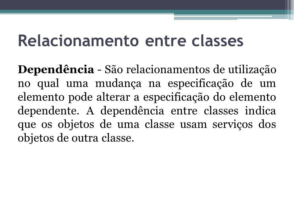 Relacionamento entre classes Dependência - São relacionamentos de utilização no qual uma mudança na especificação de um elemento pode alterar a especi
