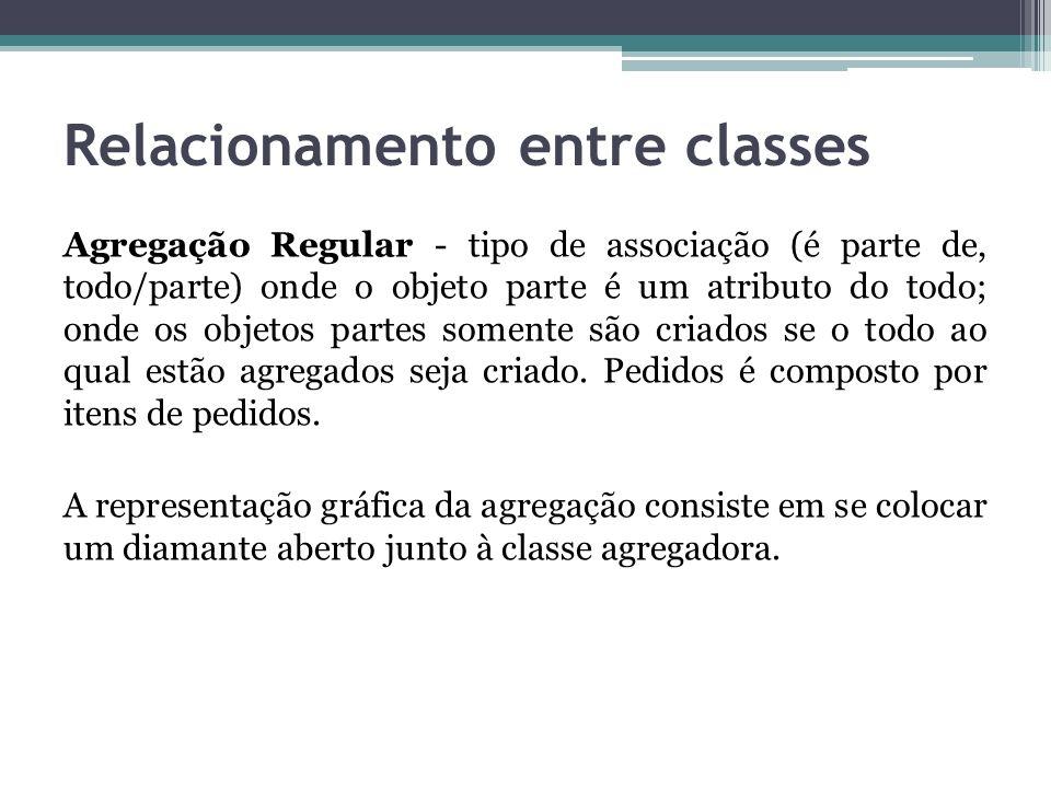 Relacionamento entre classes Agregação Regular - tipo de associação (é parte de, todo/parte) onde o objeto parte é um atributo do todo; onde os objeto