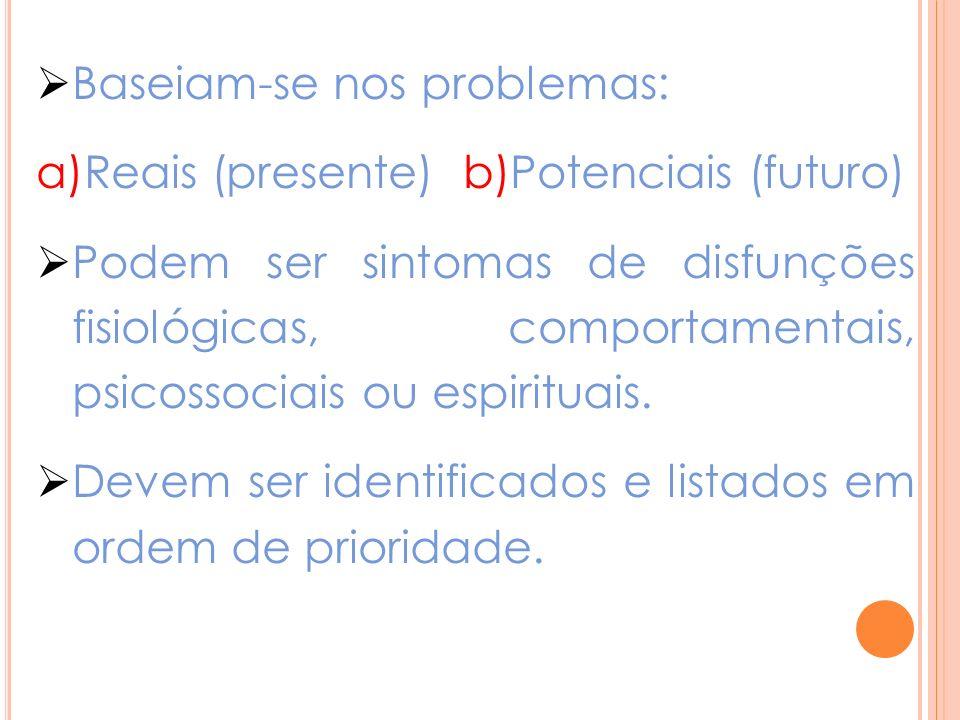 Baseiam-se nos problemas: a)Reais (presente) b)Potenciais (futuro) Podem ser sintomas de disfunções fisiológicas, comportamentais, psicossociais ou espirituais.
