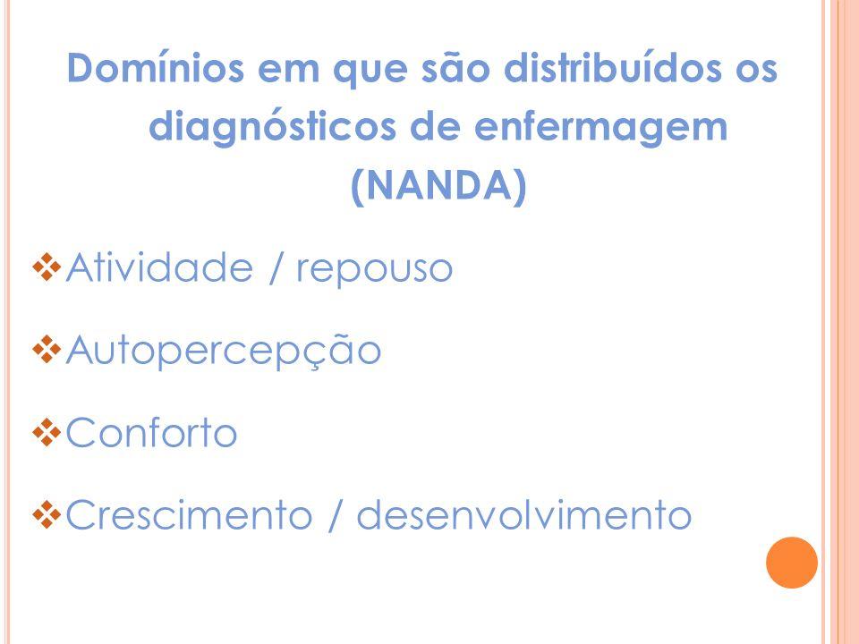 Domínios em que são distribuídos os diagnósticos de enfermagem (NANDA) Atividade / repouso Autopercepção Conforto Crescimento / desenvolvimento