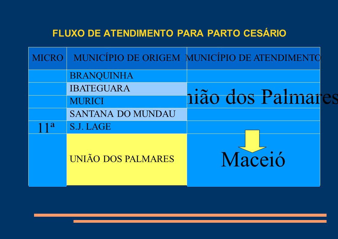 FLUXO DE ATENDIMENTO PARA PARTO CESÁRIO Título MICROMUNICÍPIO DE ORIGEMMUNICÍPIO DE ATENDIMENTO 11ª BRANQUINHA União dos Palmares Maceió IBATEGUARA MU