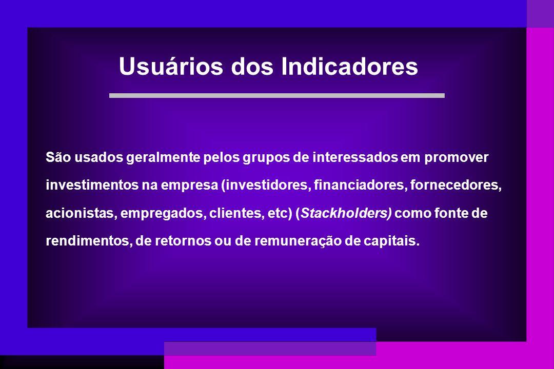 Usuários dos Indicadores São usados geralmente pelos grupos de interessados em promover investimentos na empresa (investidores, financiadores, fornece