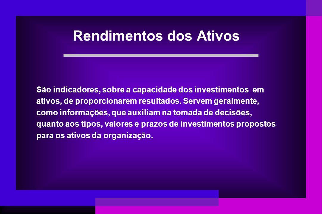 São indicadores, sobre a capacidade dos investimentos em ativos, de proporcionarem resultados. Servem geralmente, como informações, que auxiliam na to
