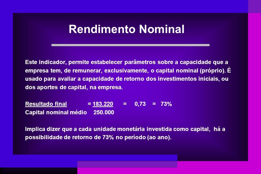 Rendimento Nominal Este indicador, permite estabelecer parâmetros sobre a capacidade que a empresa tem, de remunerar, exclusivamente, o capital nomina