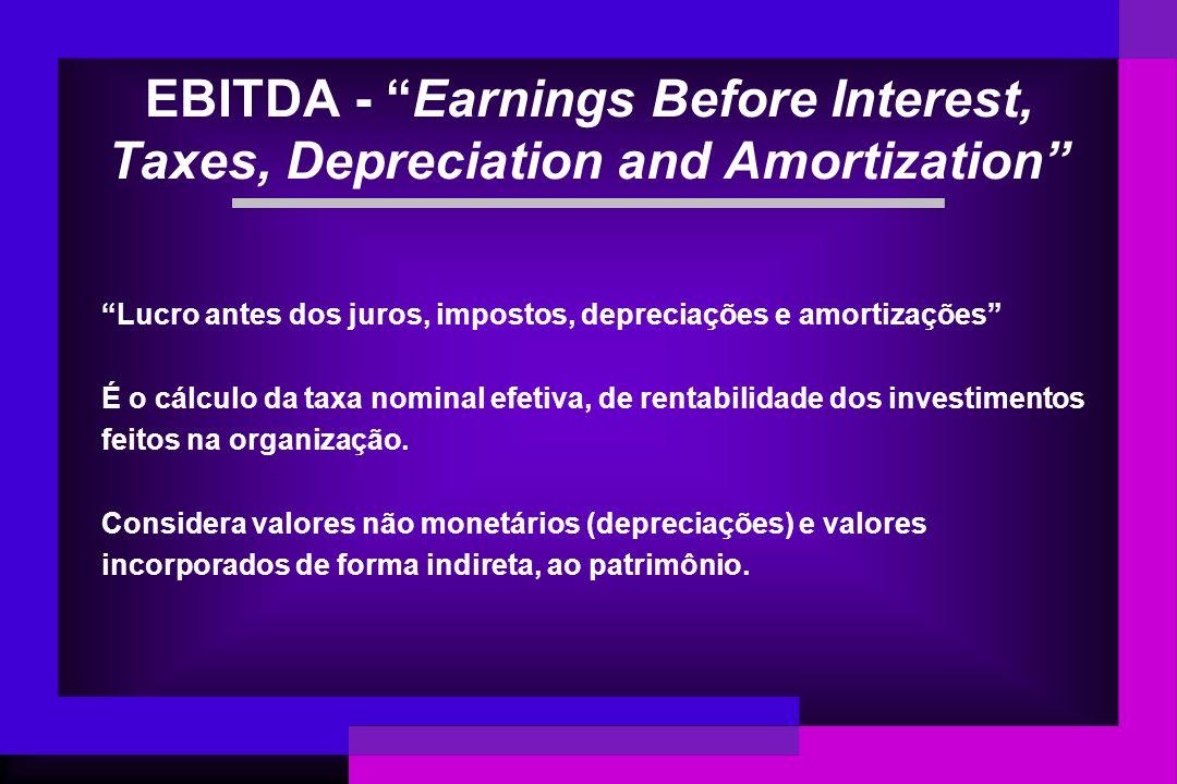 EBITDA - Earnings Before Interest, Taxes, Depreciation and Amortization Lucro antes dos juros, impostos, depreciações e amortizações É o cálculo da ta