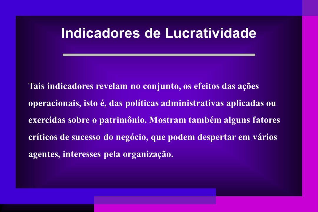 Tais indicadores revelam no conjunto, os efeitos das ações operacionais, isto é, das políticas administrativas aplicadas ou exercidas sobre o patrimôn