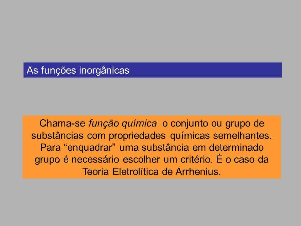 As funções inorgânicas Chama-se função química o conjunto ou grupo de substâncias com propriedades químicas semelhantes. Para enquadrar uma substância