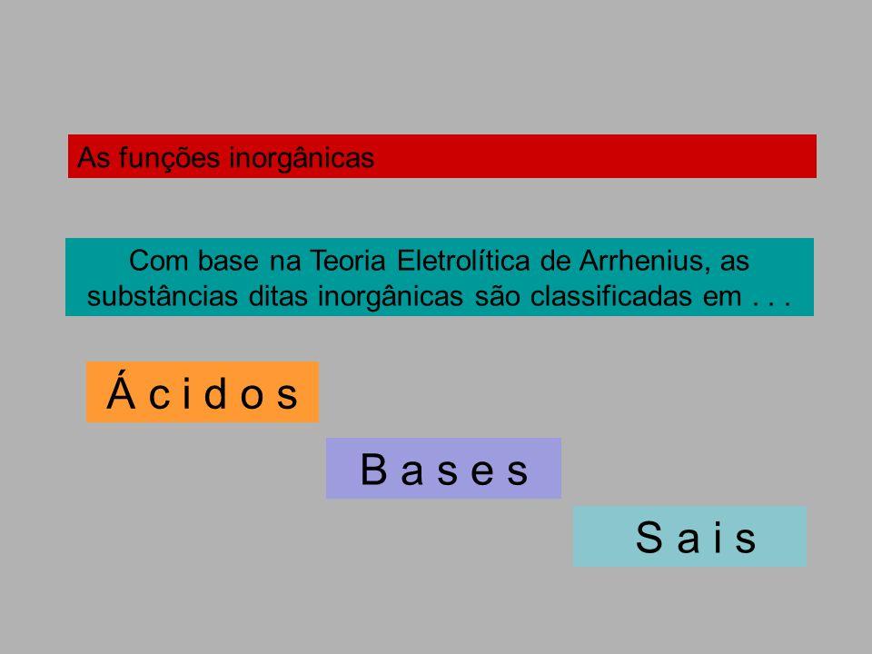 As funções inorgânicas Com base na Teoria Eletrolítica de Arrhenius, as substâncias ditas inorgânicas são classificadas em... Á c i d o s B a s e s S