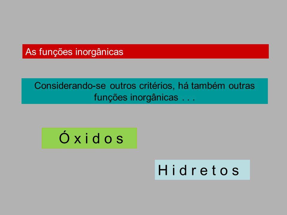 As funções inorgânicas Considerando-se outros critérios, há também outras funções inorgânicas... Ó x i d o s H i d r e t o s