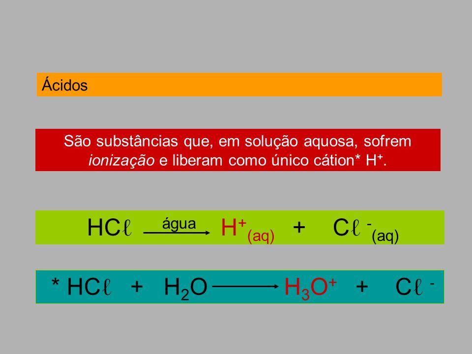 Ácidos São substâncias que, em solução aquosa, sofrem ionização e liberam como único cátion* H +. HC água H + (aq) + C - (aq) * HC + H 2 O H 3 O + + C