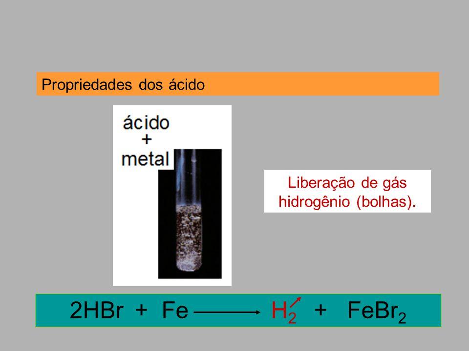 Propriedades dos ácido 2HBr + Fe H 2 + FeBr 2 Liberação de gás hidrogênio (bolhas).