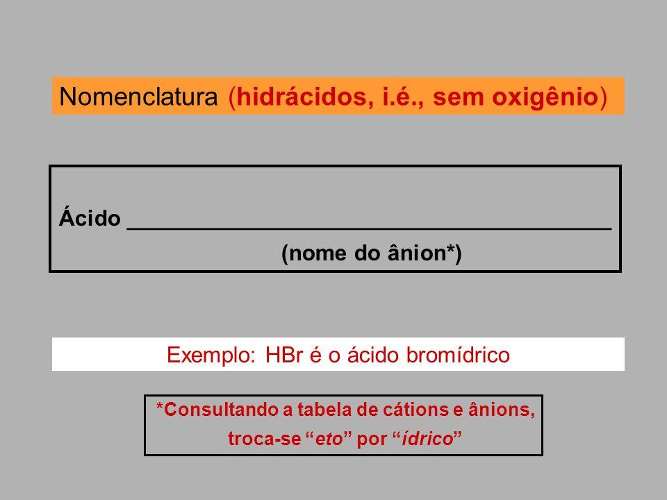 Nomenclatura (hidrácidos, i.é., sem oxigênio) Ácido _______________________________________ (nome do ânion*) *Consultando a tabela de cátions e ânions