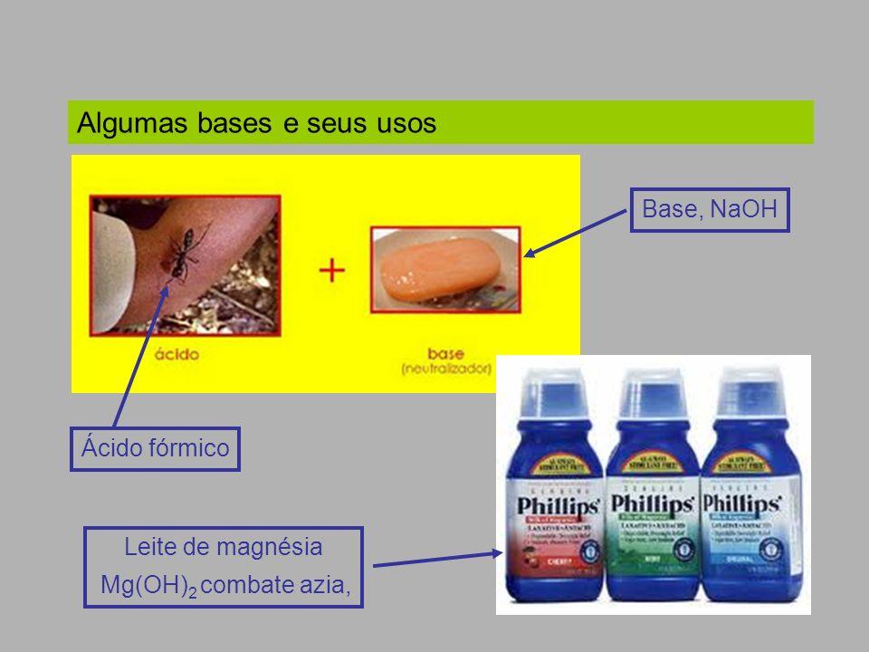 Ácido fórmico Algumas bases e seus usos Base, NaOH Leite de magnésia Mg(OH) 2 combate azia,