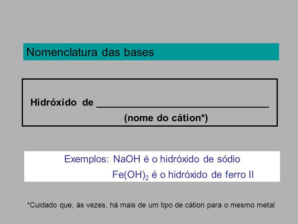 Nomenclatura das bases Hidróxido de _______________________________ (nome do cátion*) *Cuidado que, às vezes, há mais de um tipo de cátion para o mesm