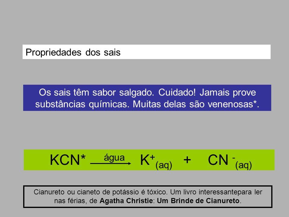 KCN* água K + (aq) + CN - (aq) Cianureto ou cianeto de potássio é tóxico. Um livro interessantepara ler nas férias, de Agatha Christie: Um Brinde de C