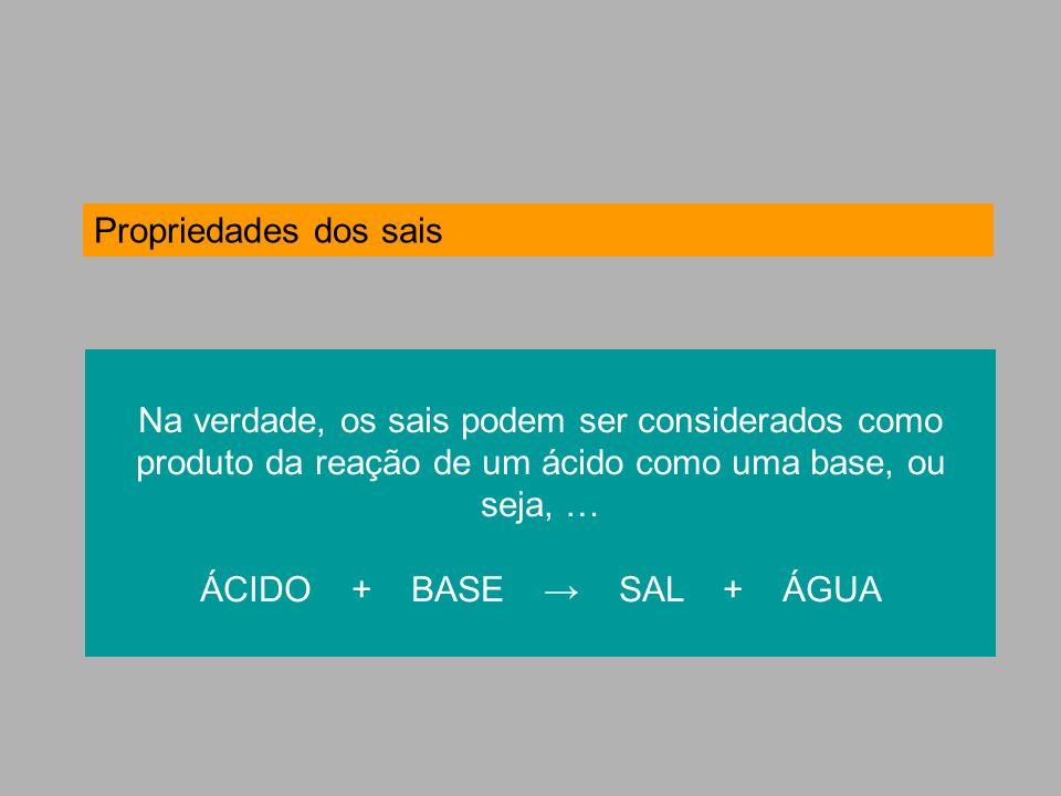 Propriedades dos sais Na verdade, os sais podem ser considerados como produto da reação de um ácido como uma base, ou seja, … ÁCIDO + BASE SAL + ÁGUA