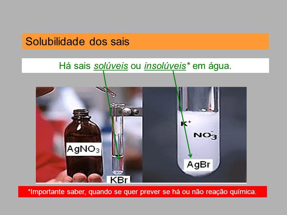 Solubilidade dos sais Há sais solúveis ou insolúveis* em água. *Importante saber, quando se quer prever se há ou não reação química.