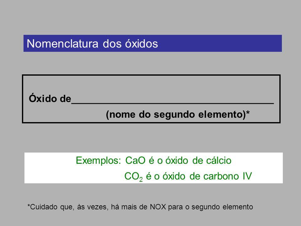 Nomenclatura dos óxidos Óxido de____________________________________ (nome do segundo elemento)* *Cuidado que, às vezes, há mais de NOX para o segundo