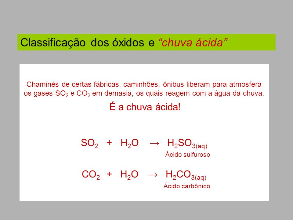 Classificação dos óxidos e chuva ácida Chaminés de certas fábricas, caminhões, ônibus liberam para atmosfera os gases SO 2 e CO 2 em demasia, os quais