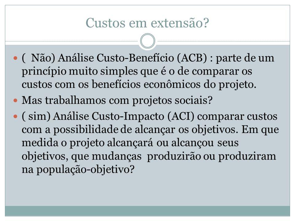 Custos em extensão? ( Não) Análise Custo-Benefício (ACB) : parte de um princípio muito simples que é o de comparar os custos com os benefícios econômi