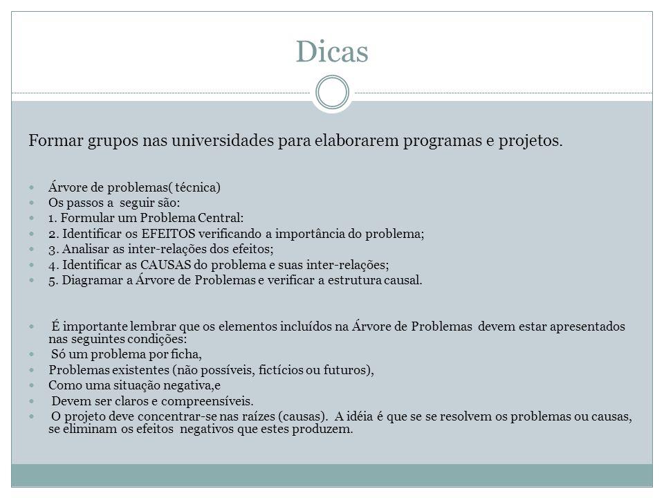 Dicas Formar grupos nas universidades para elaborarem programas e projetos. Árvore de problemas( técnica) Os passos a seguir são: 1. Formular um Probl