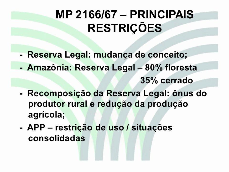 MP 2166/67 – PRINCIPAIS RESTRIÇÕES - Reserva Legal: mudança de conceito; - Amazônia: Reserva Legal – 80% floresta 35% cerrado - Recomposição da Reserv