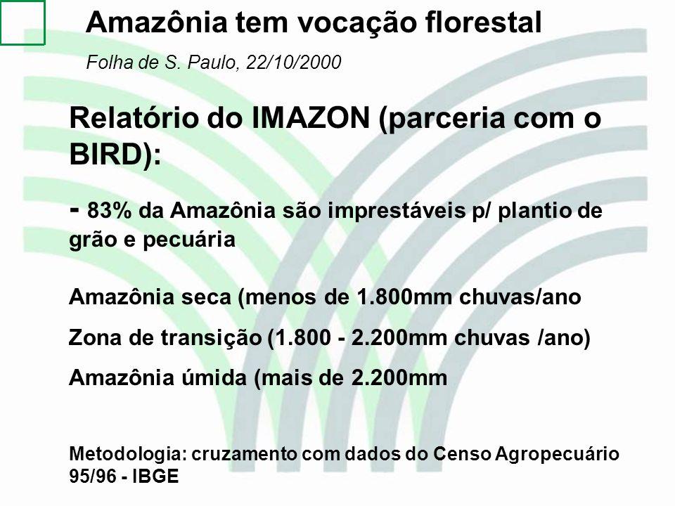 Amazônia tem vocação florestal Folha de S. Paulo, 22/10/2000 Relatório do IMAZON (parceria com o BIRD): - 83% da Amazônia são imprestáveis p/ plantio