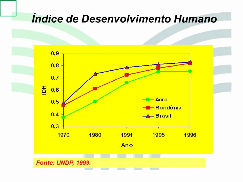 Fonte: UNDP, 1999. Índice de Desenvolvimento Humano