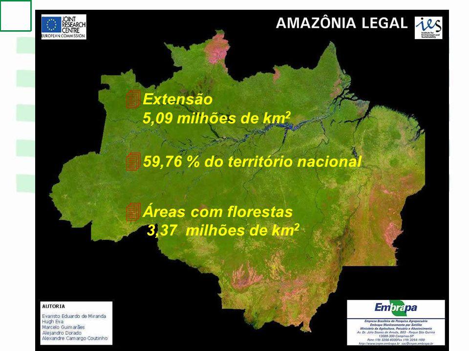 4 Extensão 5,09 milhões de km 2 4 59,76 % do território nacional 4 Áreas com florestas 3,37 milhões de km 2