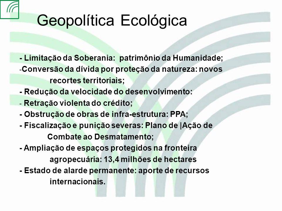 PLANO PARA A CONTENÇÃO DO DESMATAMENTO NA AMAZÔNIA Criação de Unidades de Conservação 13, 4 milhões de hectares deverão ser destinados a Unidades de Conservação em 2004, na região do arco do desmatamento, sendo: 8,1 milhões de hectares em Unidades de Proteção Integral 5,3 milhões de hectares de Unidades de Uso Sustentável Áreas prioritárias: - Terra do Meio e Porto de Moz no Pará - Noroeste do Mato Grosso - Sudeste do Amazonas - Região de Jacundá no Estado de Rondônia