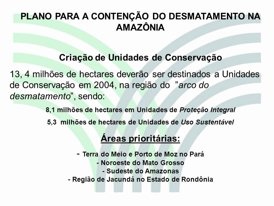 PLANO PARA A CONTENÇÃO DO DESMATAMENTO NA AMAZÔNIA Criação de Unidades de Conservação 13, 4 milhões de hectares deverão ser destinados a Unidades de C