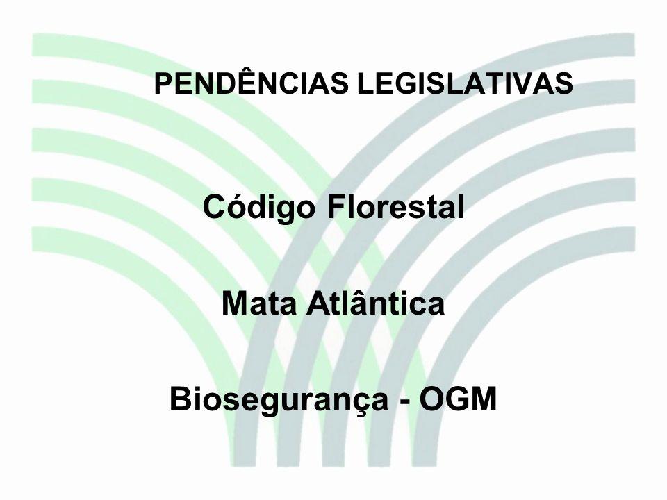 PENDÊNCIAS LEGISLATIVAS Código Florestal Mata Atlântica Biosegurança - OGM