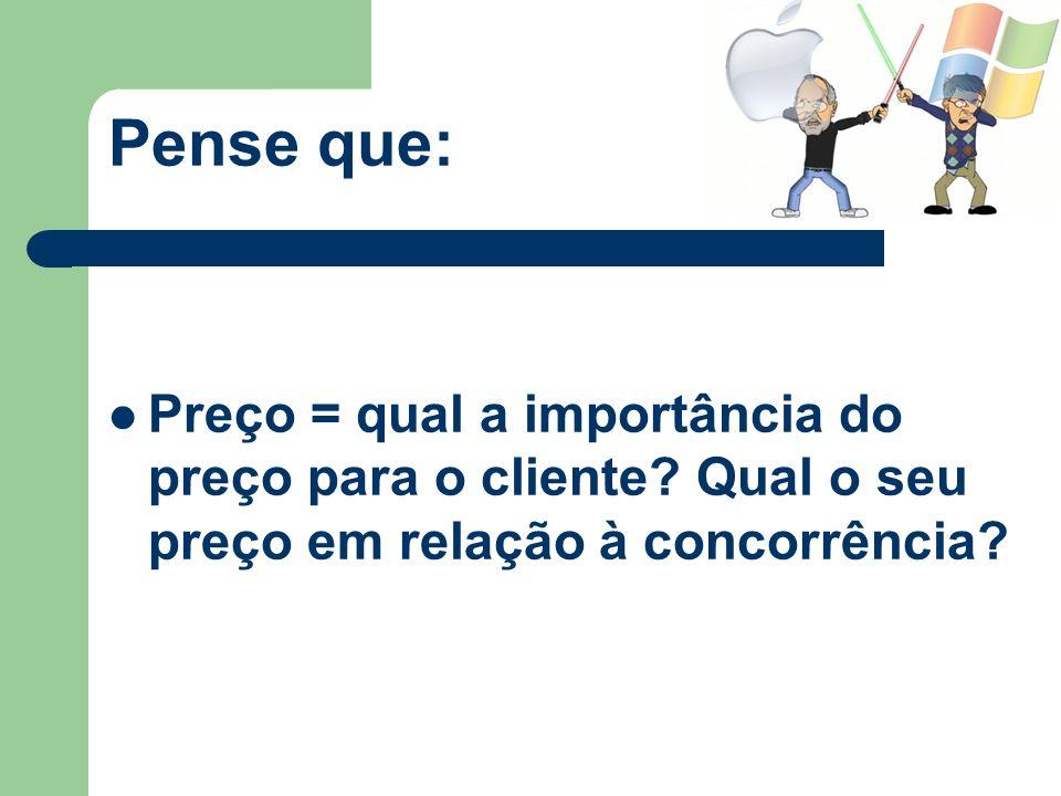 Pense que: Preço = qual a importância do preço para o cliente? Qual o seu preço em relação à concorrência?