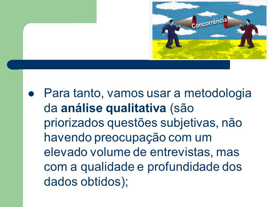 Para tanto, vamos usar a metodologia da análise qualitativa (são priorizados questões subjetivas, não havendo preocupação com um elevado volume de ent