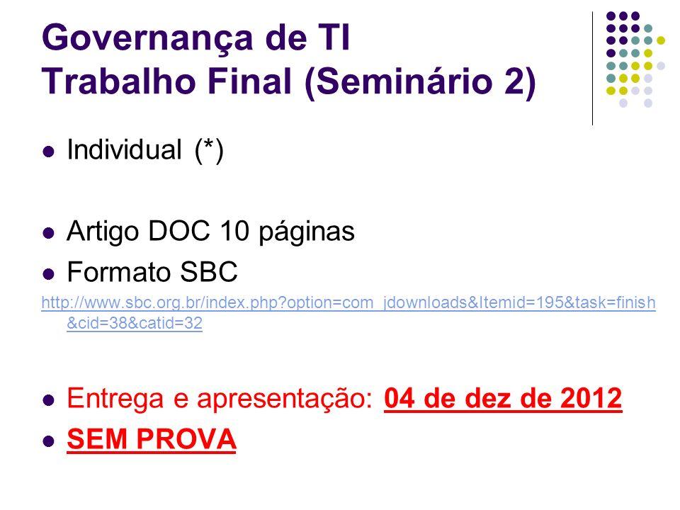 Governança de TI Trabalho Final (Seminário 2) Individual (*) Artigo DOC 10 páginas Formato SBC http://www.sbc.org.br/index.php?option=com_jdownloads&I