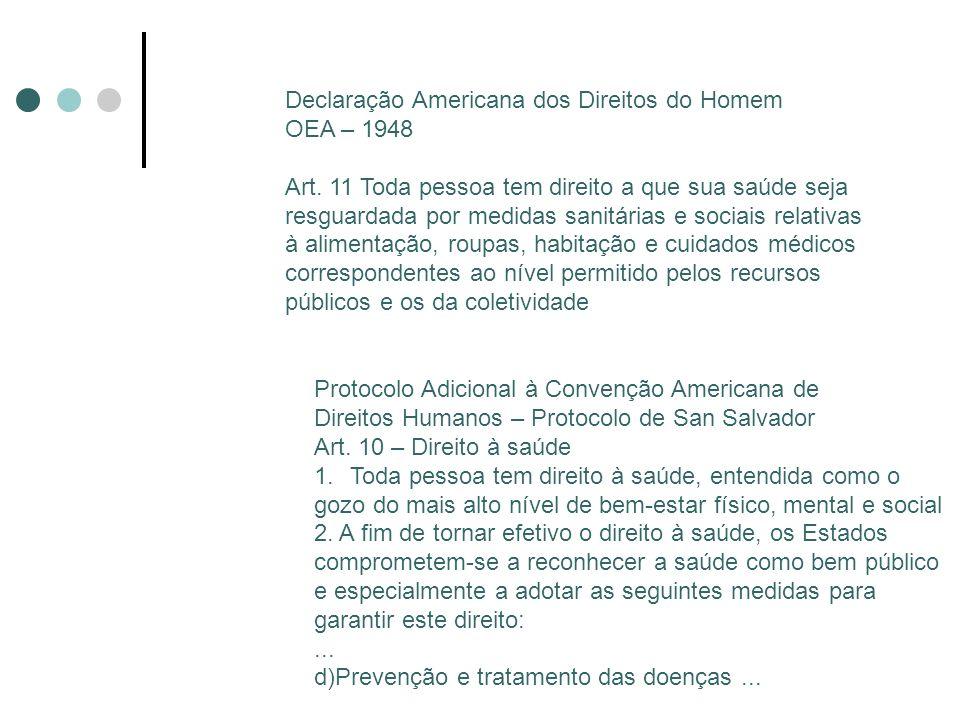 Declaração Americana dos Direitos do Homem OEA – 1948 Art. 11 Toda pessoa tem direito a que sua saúde seja resguardada por medidas sanitárias e sociai