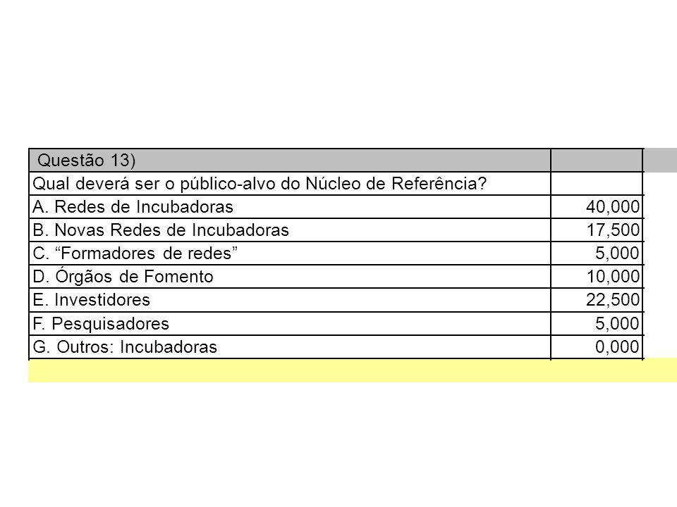 Questão 13) Qual deverá ser o público-alvo do Núcleo de Referência.