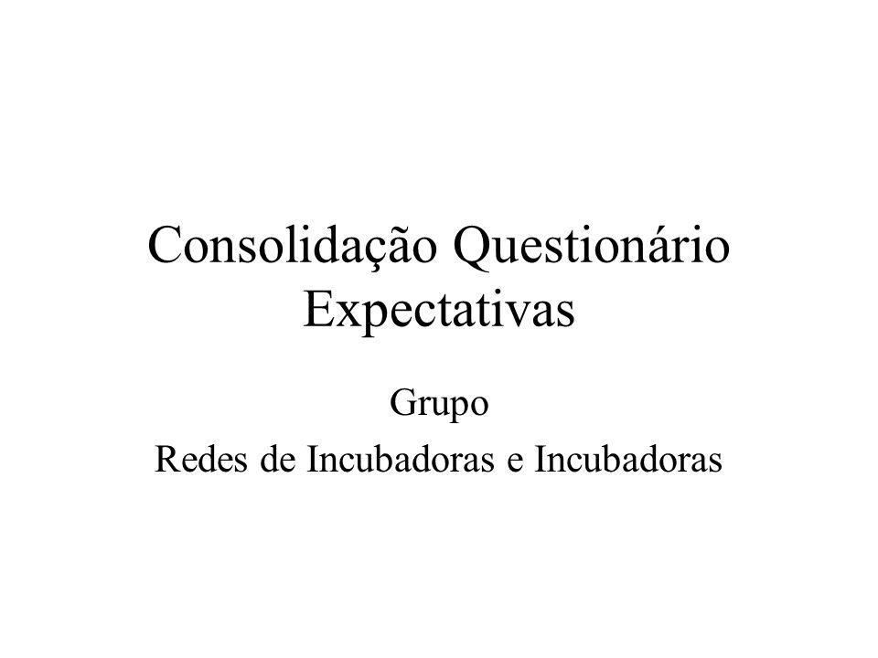 Consolidação Questionário Expectativas Grupo Redes de Incubadoras e Incubadoras