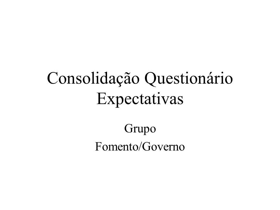 Consolidação Questionário Expectativas Grupo Fomento/Governo