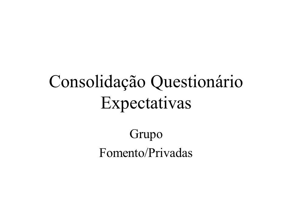 Consolidação Questionário Expectativas Grupo Fomento/Privadas