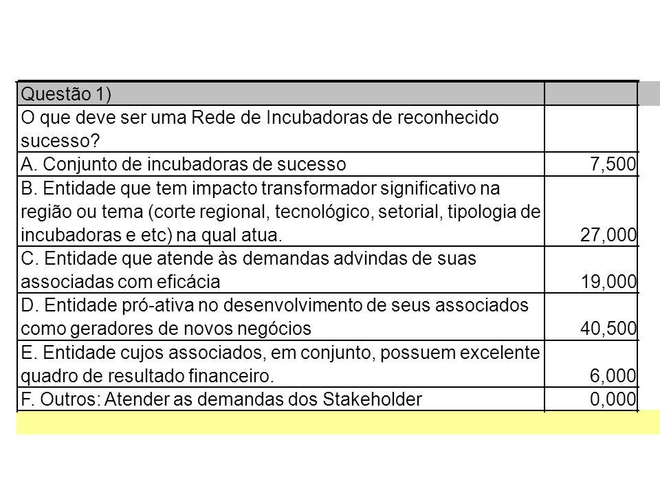 Questão 1) O que deve ser uma Rede de Incubadoras de reconhecido sucesso.