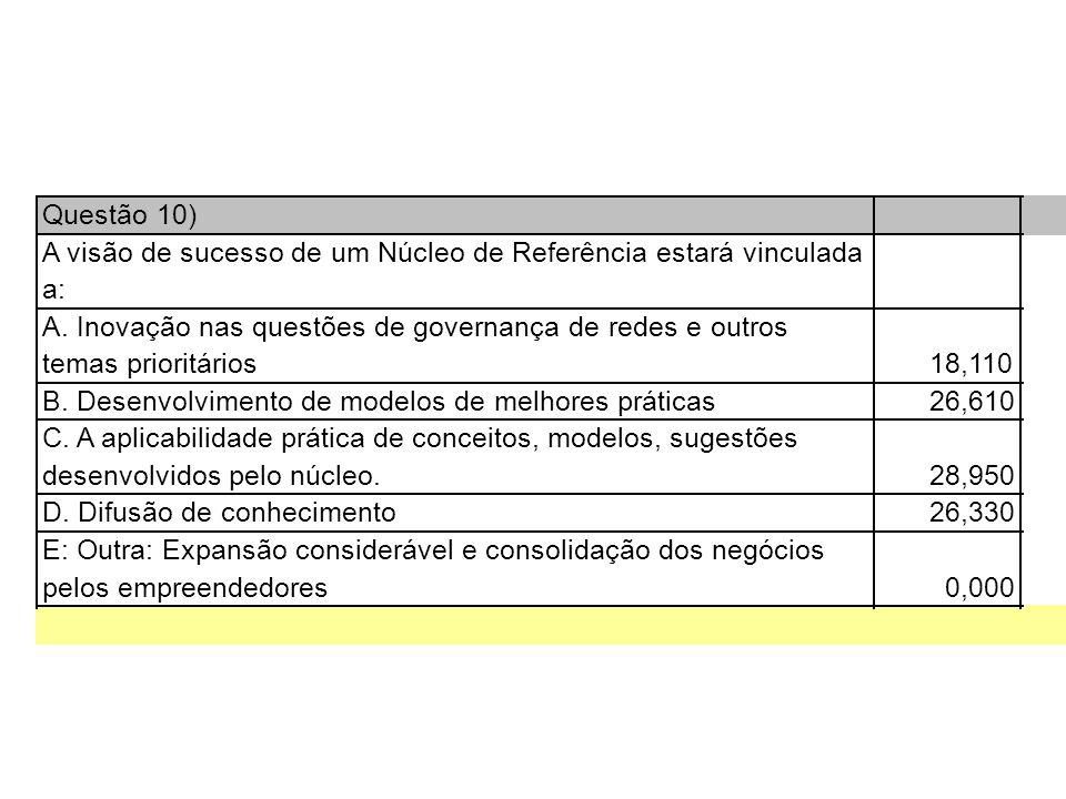 Questão 10) A visão de sucesso de um Núcleo de Referência estará vinculada a: A.
