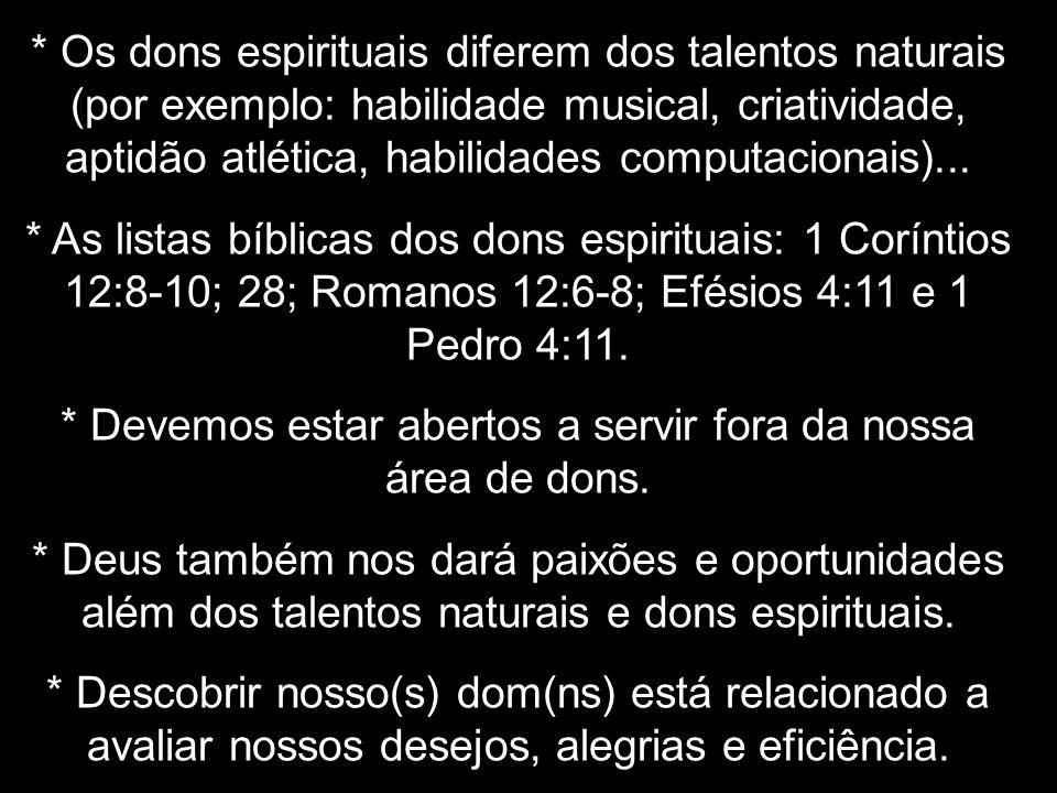 * Os dons espirituais diferem dos talentos naturais (por exemplo: habilidade musical, criatividade, aptidão atlética, habilidades computacionais)... *