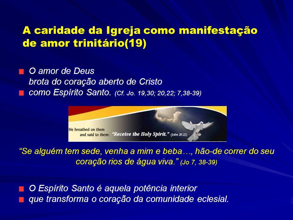 II PARTE: CARIDADE O EXERCÍCIO DO AMOR DA PARTE DA IGREJA COMO COMUNIDADE DE AMOR Esta parte é baseada sobre a relação preparada pelo Conselho Pontifí
