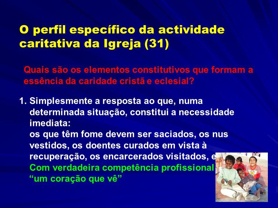 Justiça e Caridade (26-30) A justiça social é da responsabilidade primária dos políticos e do laicado A obrigação da Igreja é informar o debate acerca